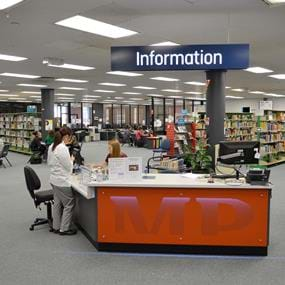 Information desk at Melbourne Polytechnic's Preston Library