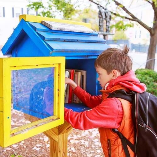 Carpentry students building street libraries for local community